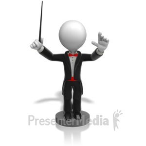 ID# 12545 - Stick Figure Conductor Front Facing View - Presentation Clipart