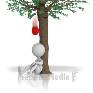 ID# 12550 - Apple Falling From Tree - Presentation Clipart
