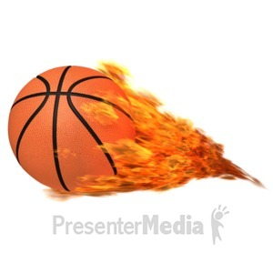 ID# 12553 - Basketball Flaming - Presentation Clipart
