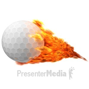 ID# 12557 - Golfball Flaming - Presentation Clipart