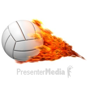 ID# 12562 - Volleyball Flaming - Presentation Clipart