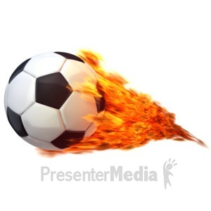 ID# 12567 - Soccerball Flaming - Presentation Clipart
