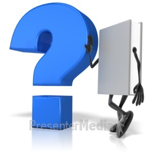 ID# 12575 - Book Leaning Against Question Mark - Presentation Clipart