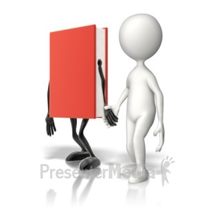 ID# 12583 - Book Holding Hands With Stick Figure - Presentation Clipart