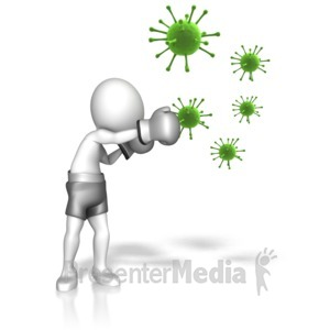 ID# 12586 - Stick Figure Fighting Off The Flu - Presentation Clipart