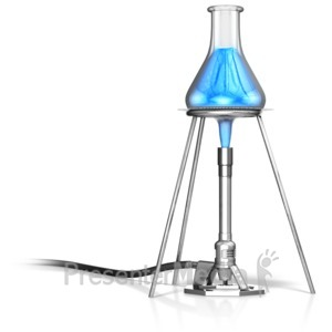 ID# 12587 - Bunsen Burner Heating Flask - Presentation Clipart