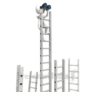 ID# 12620 - Climbing Corporate Ladder With Binocular - Presentation Clipart