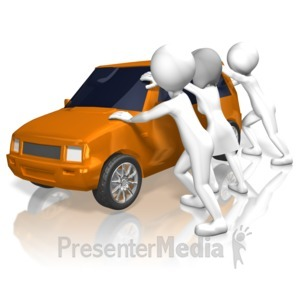 ID# 12719 - Rioters Rock Car - Presentation Clipart