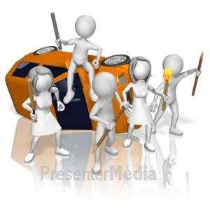 ID# 12720 - Rioters Tipped Car - Presentation Clipart