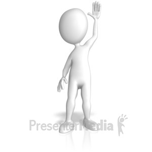 ID# 12734 - Stick Figure Raising Hand - Presentation Clipart
