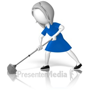 ID# 12743 - Woman Stick Figure Sweeping - Presentation Clipart