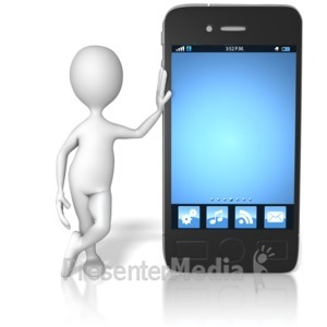 ID# 12777 - Stick Figure Leaning On Smart Phone - Presentation Clipart