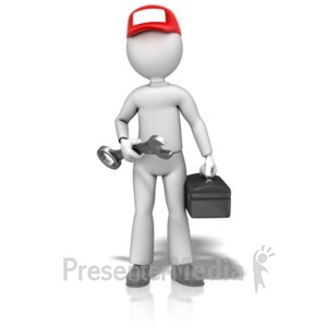 ID# 12796 - Fix It Guy Hold Wrench - Presentation Clipart