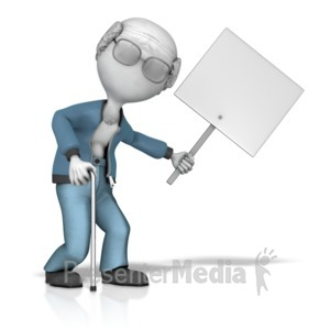 ID# 12798 - Elderly Figure Holding Sign - Presentation Clipart