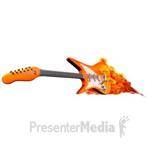 ID# 12846 - Guitar On Fire - Presentation Clipart