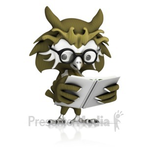 ID# 12896 - Owl Reading Book - Presentation Clipart