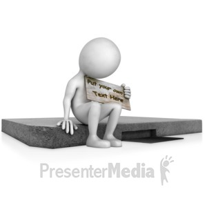 ID# 12927 - Sitting On Curb Holding Sign - Presentation Clipart