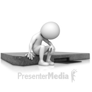 ID# 12930 - Depressed Figure Sitting On Curb - Presentation Clipart