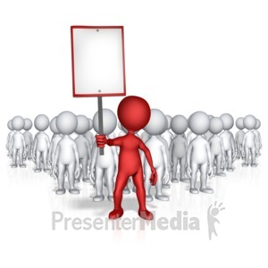 ID# 12940 - Figure Holding Sign With Followers - Presentation Clipart