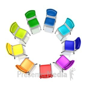 ID# 12953 - Colored Chairs Diversity Circle - Presentation Clipart