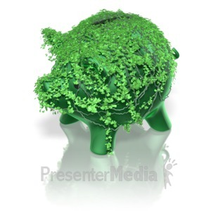 ID# 12982 - Piggy Bank Green Ivy - Presentation Clipart