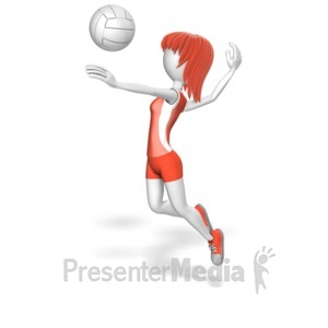 ID# 12988 - Stick Woman Volleyball - Presentation Clipart