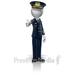ID# 12990 - Airline Pilot Giving Thumbs Up - Presentation Clipart