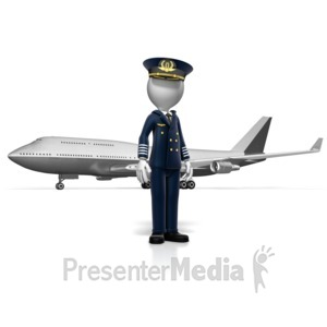 ID# 12991 - Pilot Standing In Front of Airplane - Presentation Clipart
