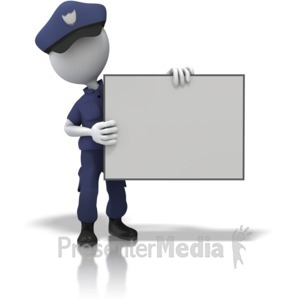 ID# 13020 - Police Officer Hold Sign - Presentation Clipart