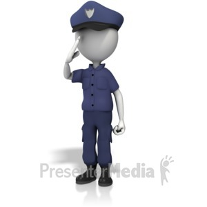 ID# 13026 - Police Officer Salute - Presentation Clipart