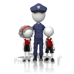 ID# 13077 - Police Officer With Children - Presentation Clipart