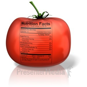 ID# 13082 - Tomato with Nutrition Label - Presentation Clipart