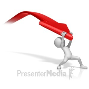 ID# 13104 - Figure Pulling Down Arrow - Presentation Clipart