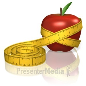 ID# 13129 - Apple Measure Tape - Presentation Clipart