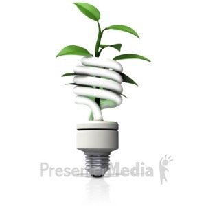 ID# 13136 - Cfl Light With Plant Growing Out - Presentation Clipart