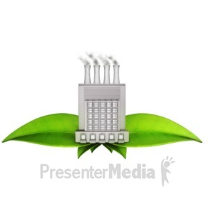 ID# 13143 - Factory On Green Leaves - Presentation Clipart