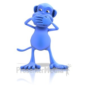 ID# 13162 - Monkey Speak No Evil - Presentation Clipart