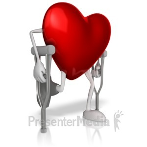 ID# 13175 - Heart In Crutches - Presentation Clipart