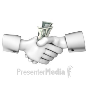 ID# 13216 - Handshake Money Exchange - Presentation Clipart