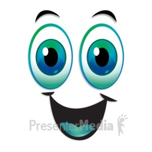 ID# 13259 - Happy Excited Expression Eyebrows Raised - Presentation Clipart