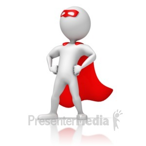ID# 13309 - Masked Superhero Standing Strong - Presentation Clipart