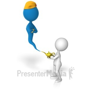 ID# 13361 - Stick Figure Summons Genie - Presentation Clipart