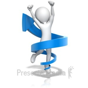 ID# 13375 - Figure Jump for Joy in Up Arrow - Presentation Clipart