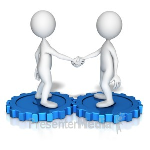 ID# 13382 - Figures Shake Hands On Gears - Presentation Clipart