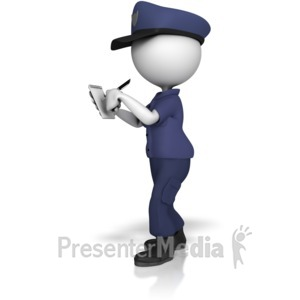 ID# 13388 - Police Officer Writing On Notepad - Presentation Clipart