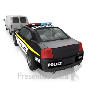 ID# 13392 - Van Pulled Over - Presentation Clipart