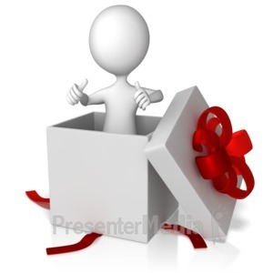 ID# 13393 - Stick Figure Popping Out Of A Present - Presentation Clipart