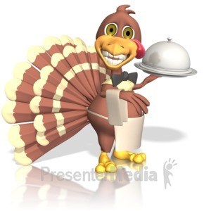 ID# 13396 - Turkey Waiter - Presentation Clipart