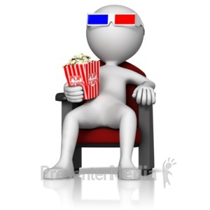 ID# 13404 - Figure at 3D Movie - Presentation Clipart