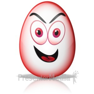 ID# 13419 - Egg Shape Crazy Evil Mad Face - Presentation Clipart